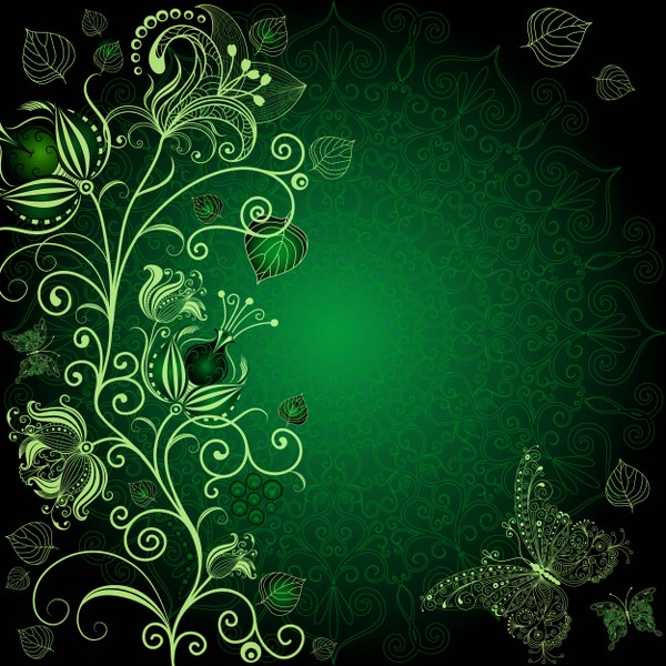 Koyu Yeşil Arka Plan üzerinde çiçek Ve Kelebekler Noa Gergi Tavan