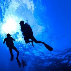 8ab30shutterstock_65711362--Bir-gunes-patlamasi-ile-aydinlatilan-yuzeye-yakin-okyanusta-su-altinda-dalgic-siluetleri